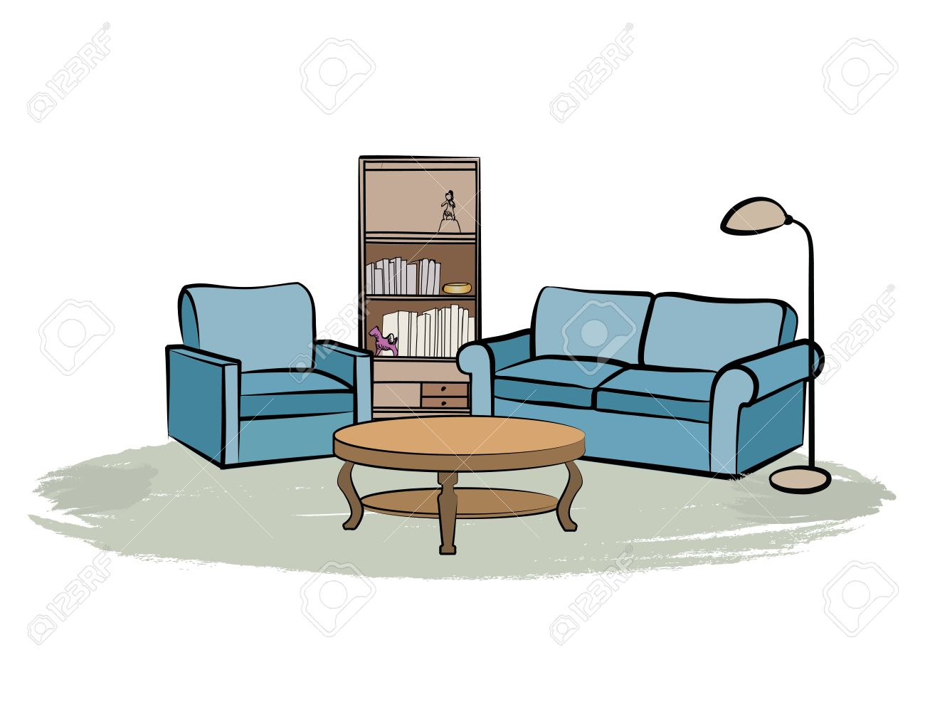 1300x1000 Home Interior Furniture With Sofa, Armchair, Table, Book Shelf