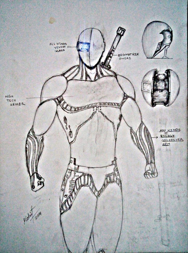 761x1024 High Tech Armor Drawing By Mohit Kumar Rao Artist Mohit Kumar