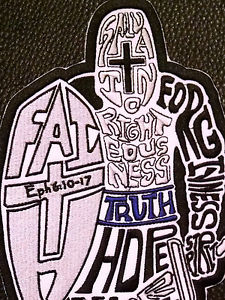225x300 Full Armor Of God Made Of Words Knight Sword Christian Back Patch