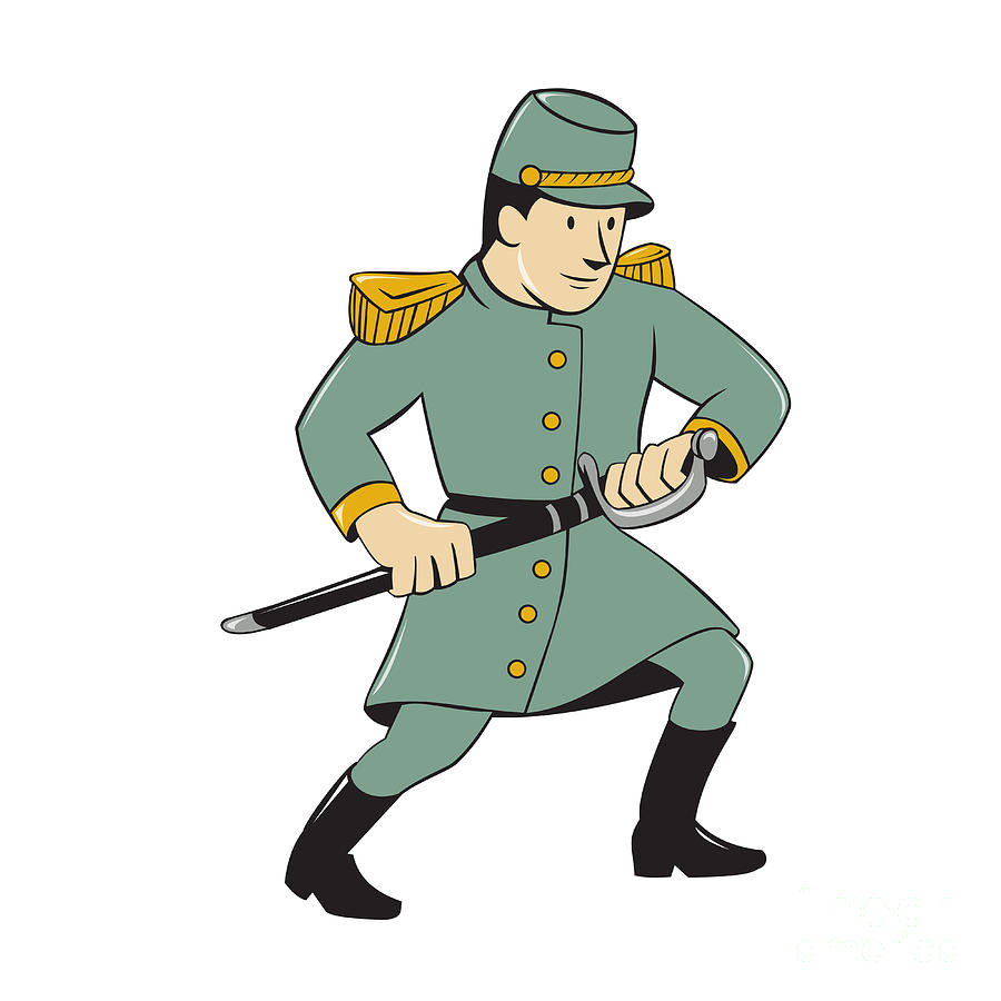 900x900 Confederate Army Soldier Drawing Sword Cartoon Digital Art By