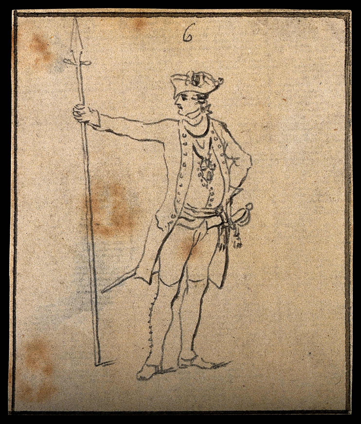 1485x1746 Filea Soldier In The Prussian Army. Drawing, C. 1794. Wellcome