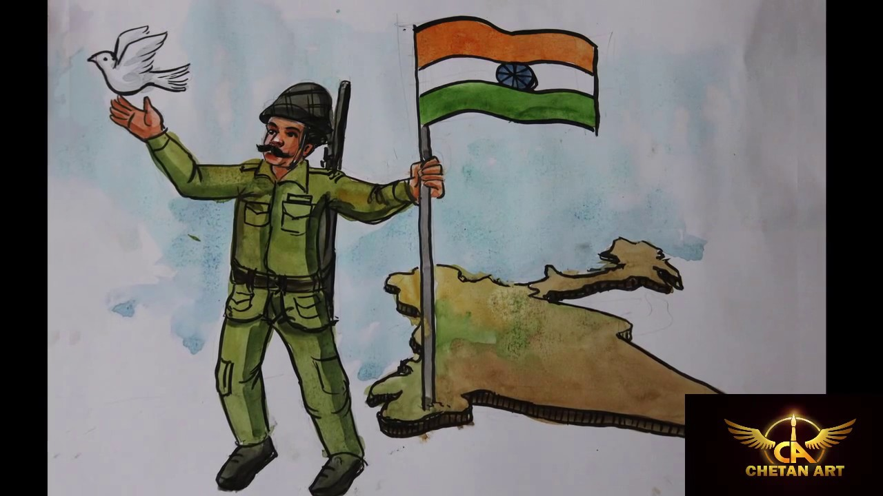1280x720 Drawing On Indian Army Soldier Chetan Art