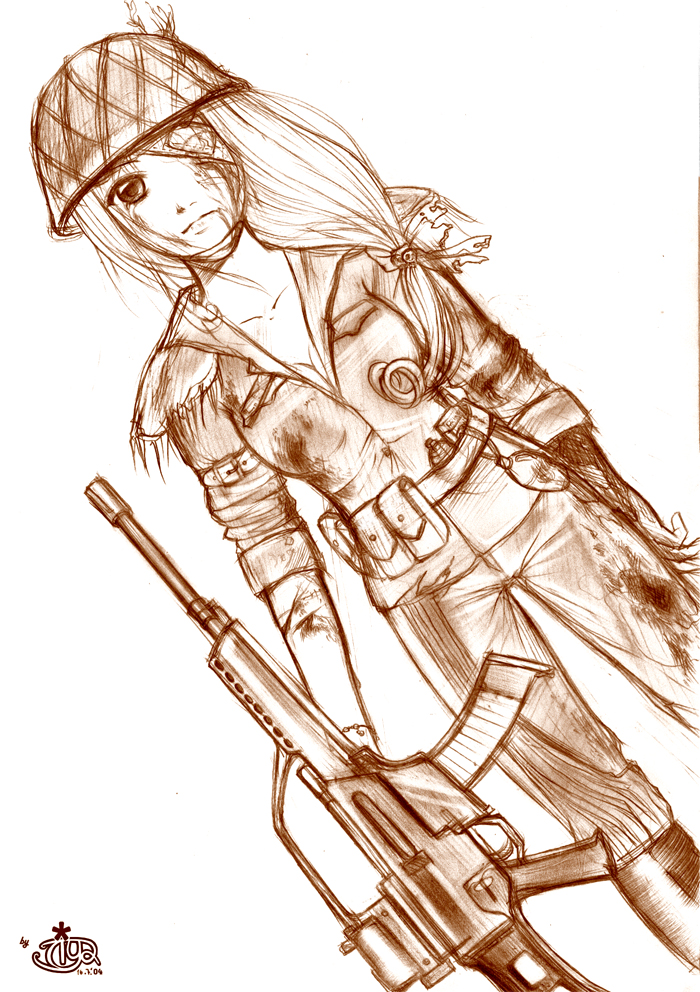 700x992 Female Soldier By Tiya