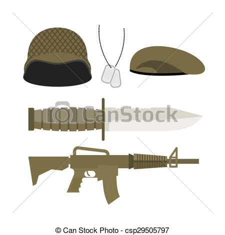 450x470 Set Army Military Icon Soldiers Helmet And Badge, Gun And Eps