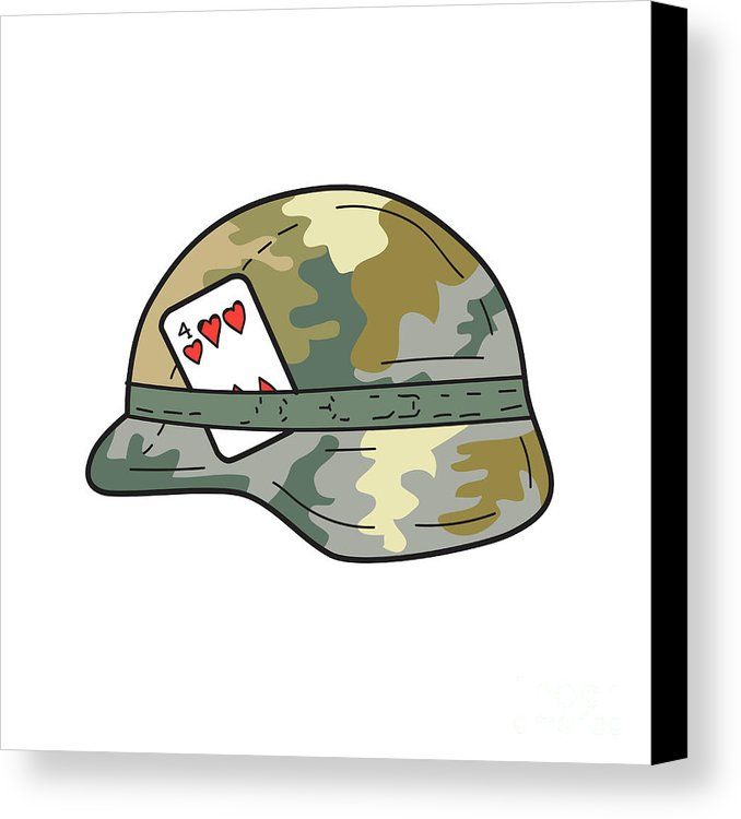 678x750 Us Army Helmet 4 Of Hearts Playing Card Drawing Canvas Print