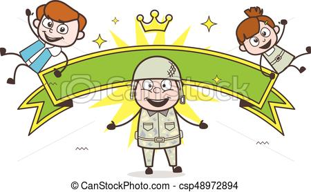 450x278 Happy Army Man With Naughty Kids And Ribbon Banner Vector Eps
