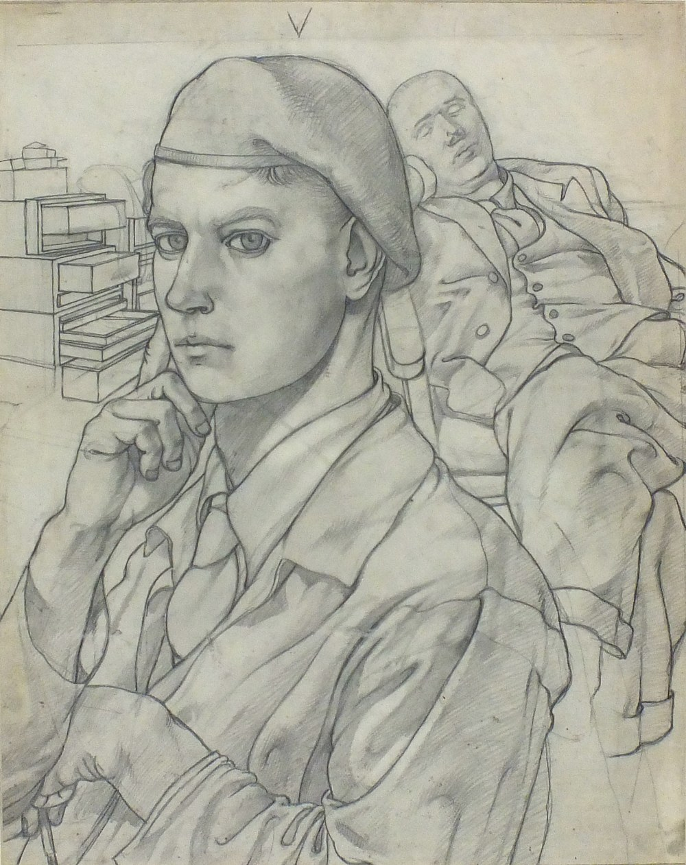 1000x1261 Mark Gertler (1891 1939) Pencil Drawing Young Man In Army Uniform