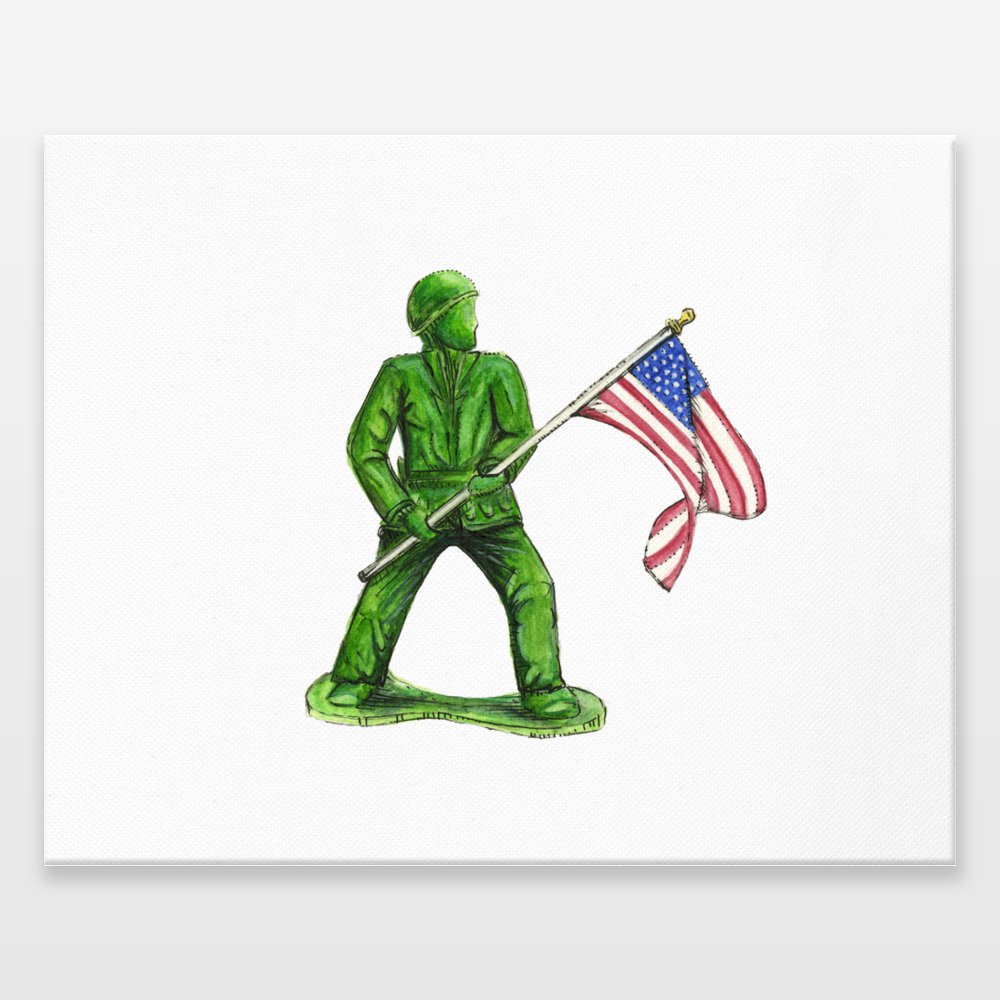 1000x1000 Nostalgic Green Army Man Toy With American Flag Wrapped Canvas