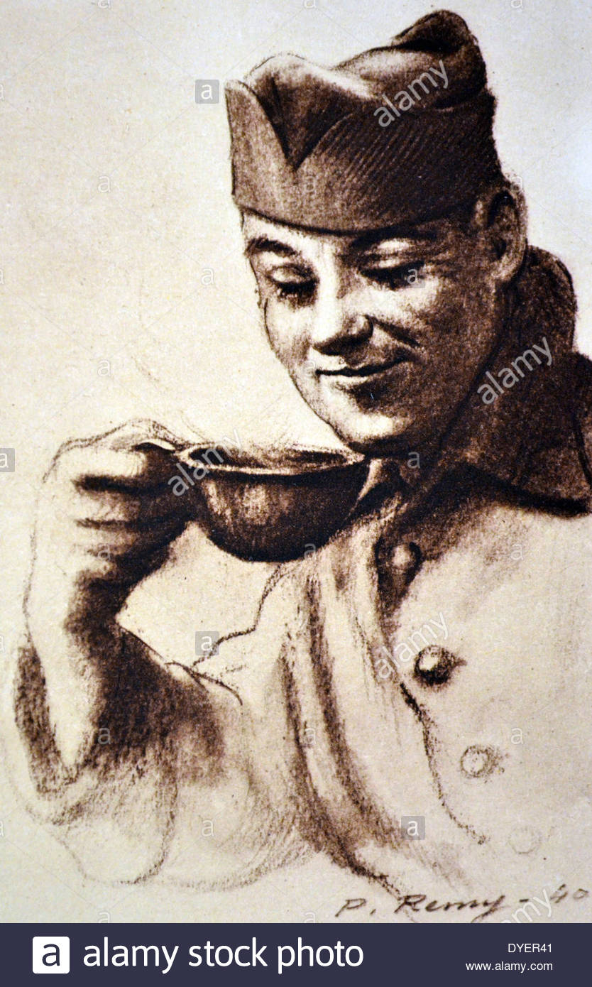 834x1390 World War Two French Army Soldier. Drawing By P Remy 1940 Stock