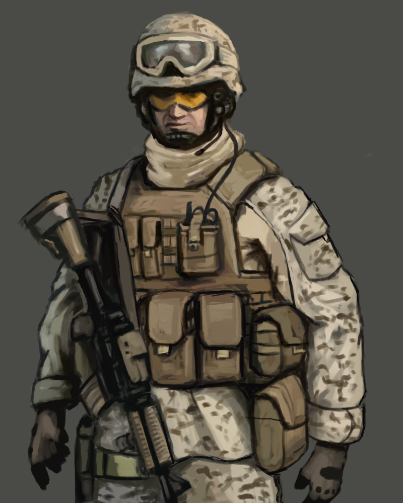 800x1000 Usmc Soldier Speed Painting By Fonteart