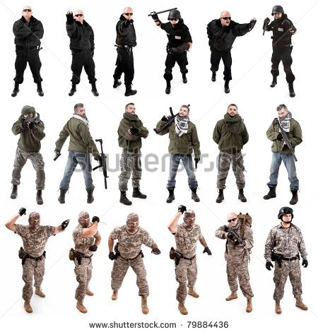 450x470 Collage,various Military Soldier Poses , Isolated In White By