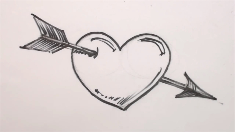 800x450 How To Draw A Heart And Arrow
