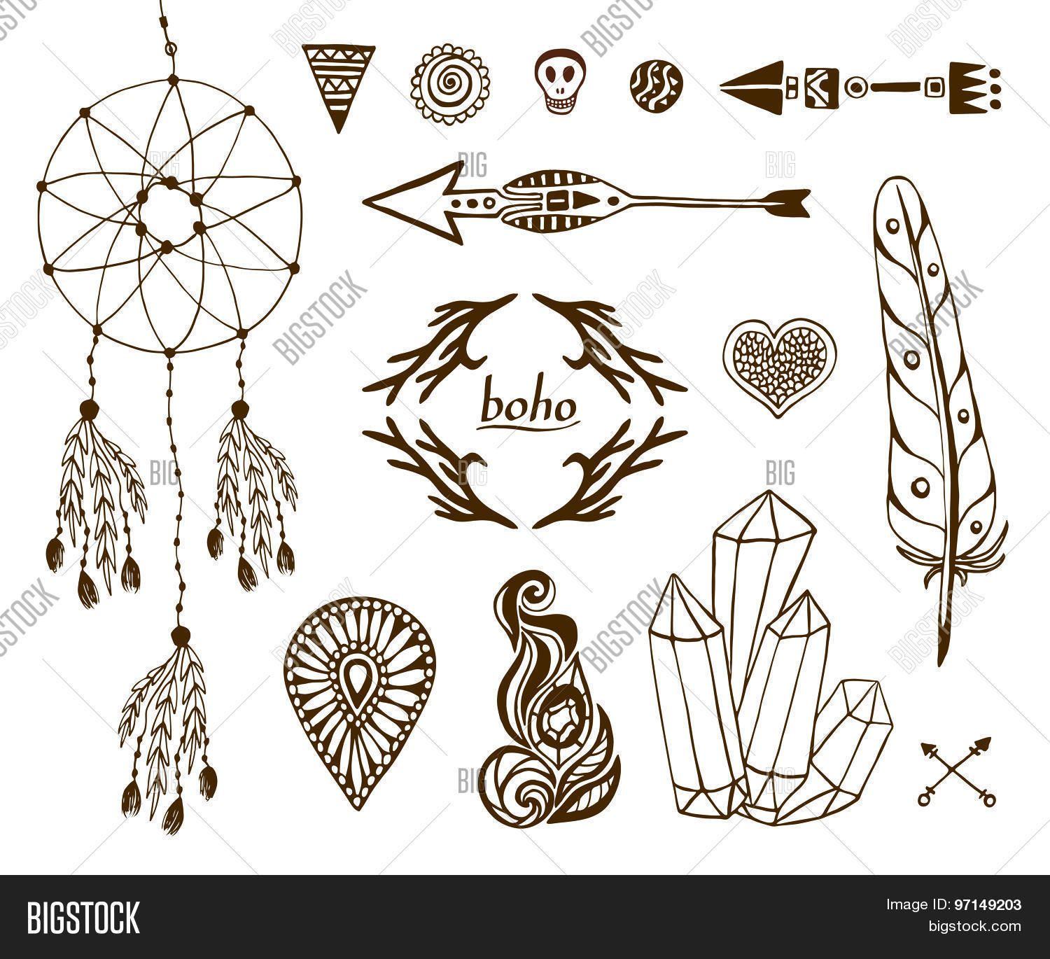 1500x1370 Hand Drawn Boho Collection With Arrows, Crystal, Feather