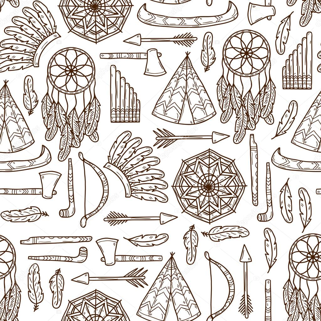 1024x1024 Seamless Background With Hand Drawn Objects On Injun Theme