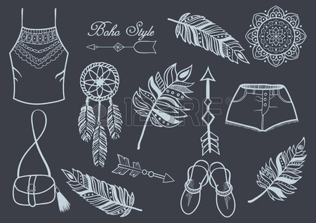 450x318 Set Of Hand Drawn Design Boho Elements (Mandala, Feathers, Arrows