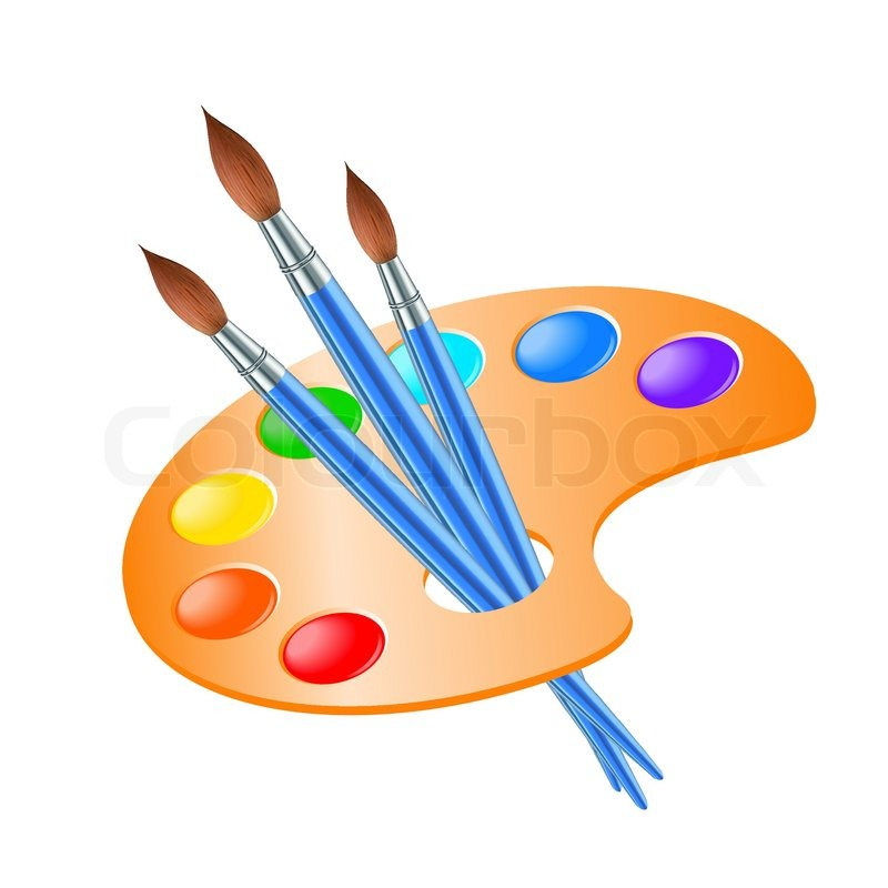 800x800 Art Palette With Paint Brush For Drawing Stock Vector Colourbox