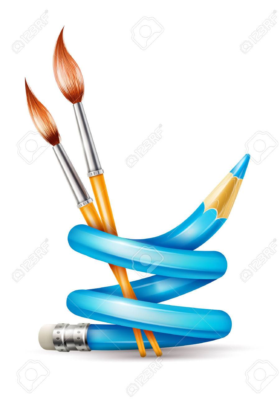 901x1300 Creative Art Design Concept With Twisted Pencil And Brushes Tools