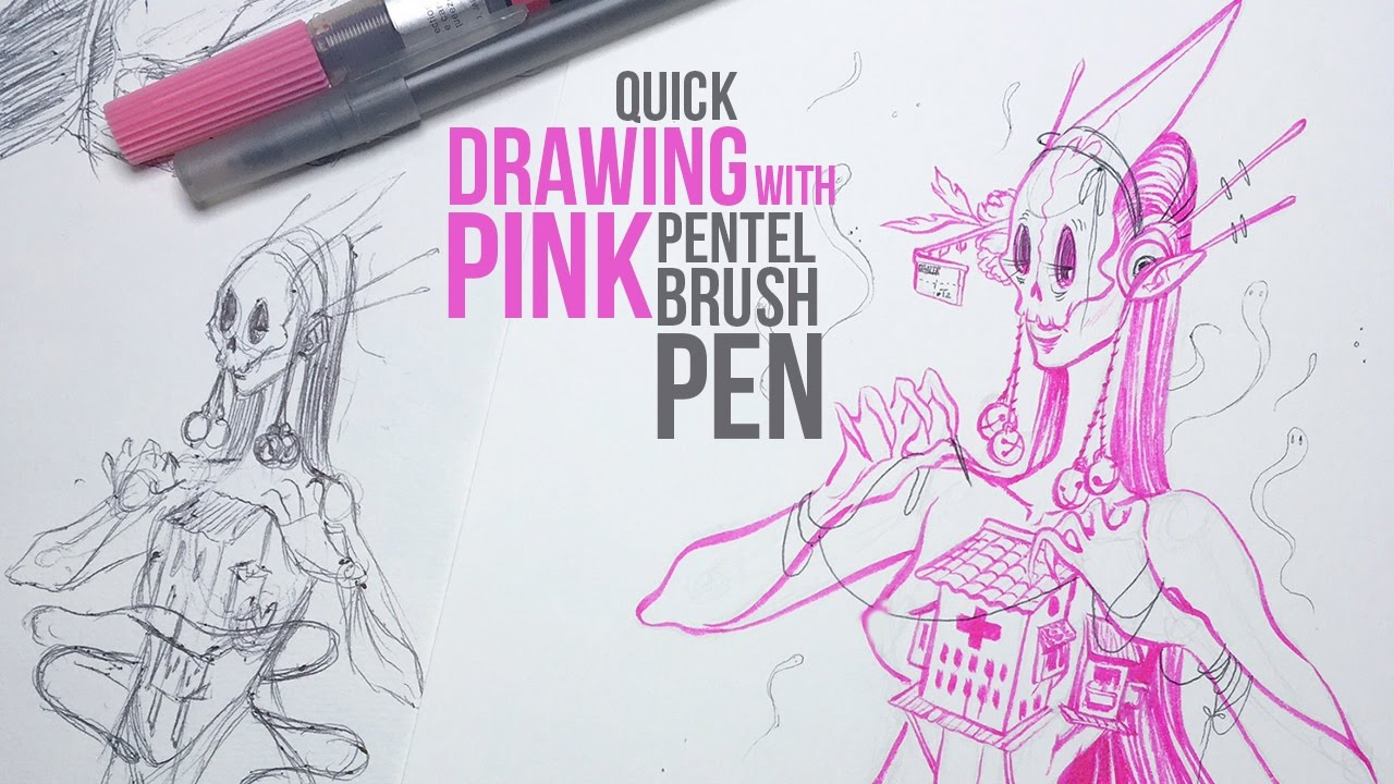 1280x720 Drawing With My Pink Pentel Brush Pen