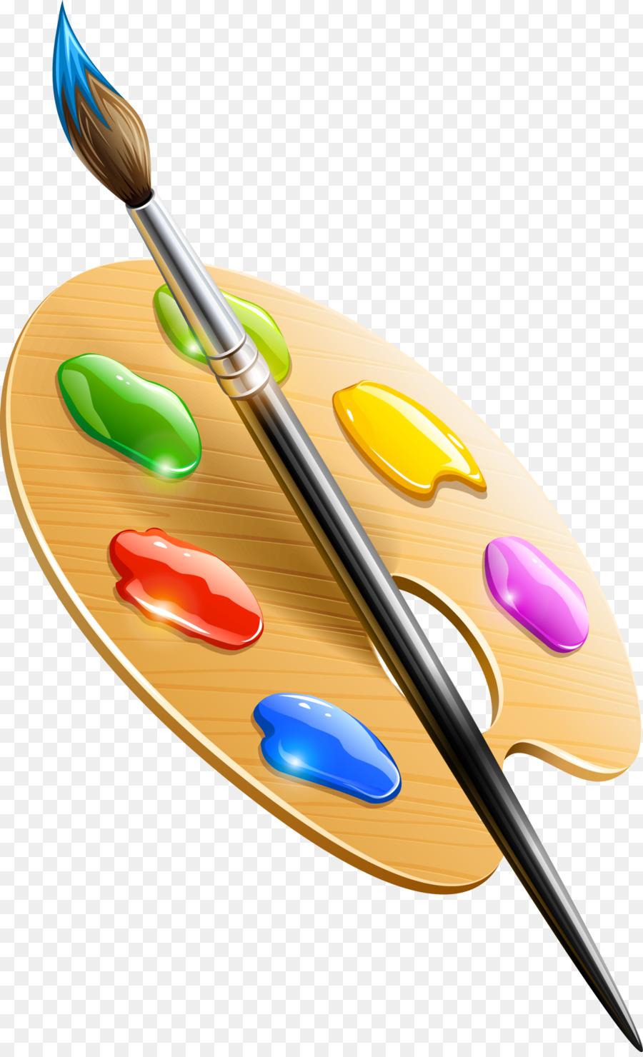 900x1480 Paintbrush Drawing Palette Clip Art