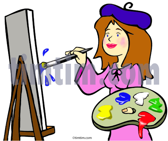 573x481 Free Drawing Of Artist Lady From The Category Occupations + Jobs