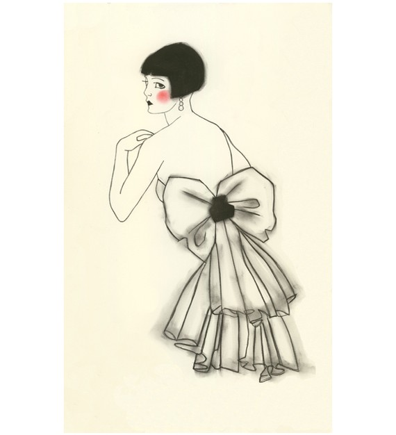 570x626 Art Deco Fashion Drawing
