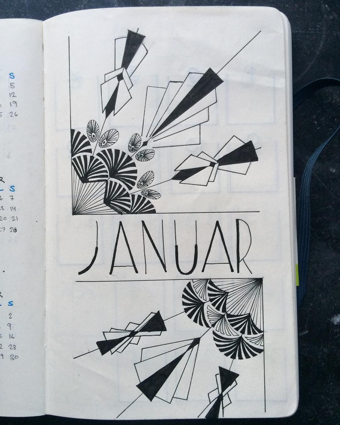 1080x1350 Bullet Journal Monthly Cover Page, January Cover Page, Art Deco
