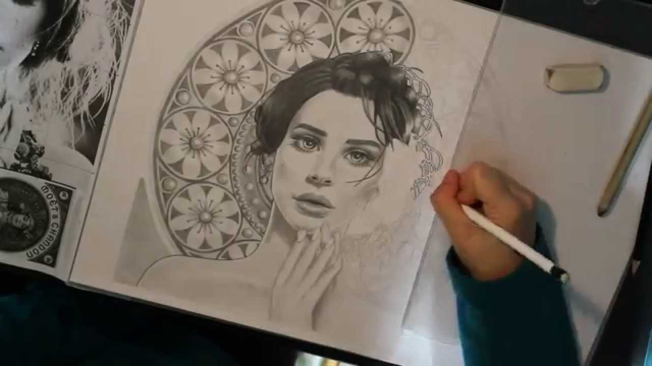 1280x720 Time Lapse Drawing Art Nouveau Lana Del Rey