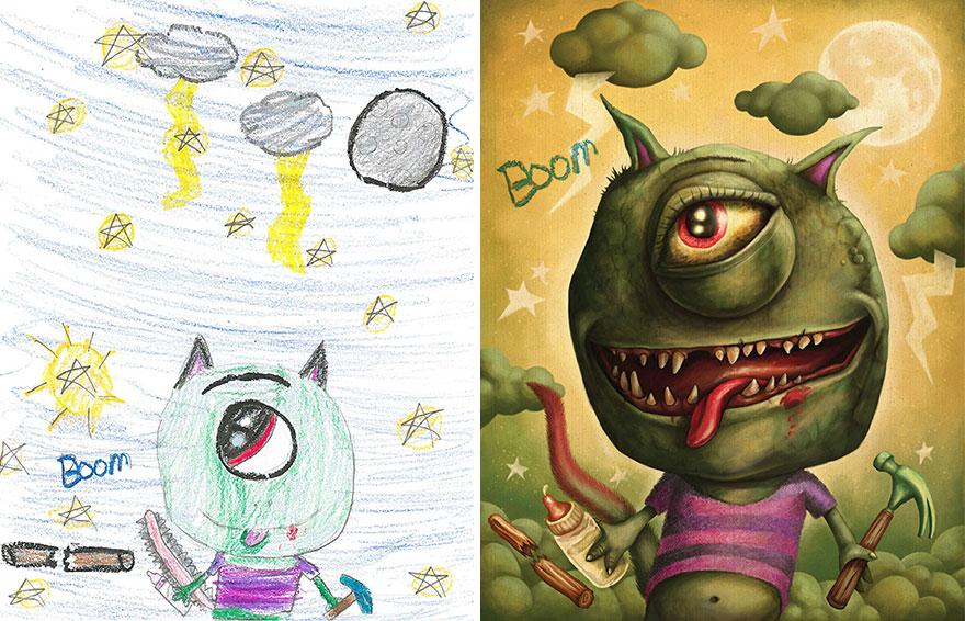 880x566 Artists Recreate Kids' Monster Doodles In Their Unique Styles