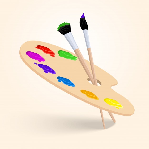 626x626 Art Color Palette With Paintbrush Drawing Tools Isolated On White