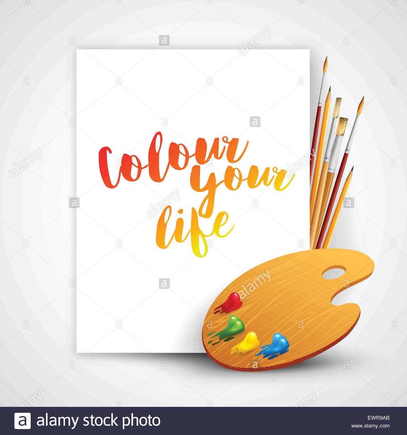 1300x1390 Art Palette With Paint Brush And Pencil Tools For Drawing. Vector