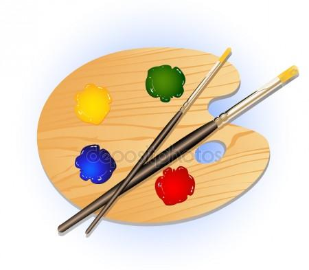 450x393 Art Palette With Paint Brush For Drawing Stock Vector
