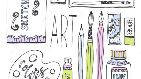 570x320 art and drawing supplies art supplies for drawing sketches vector