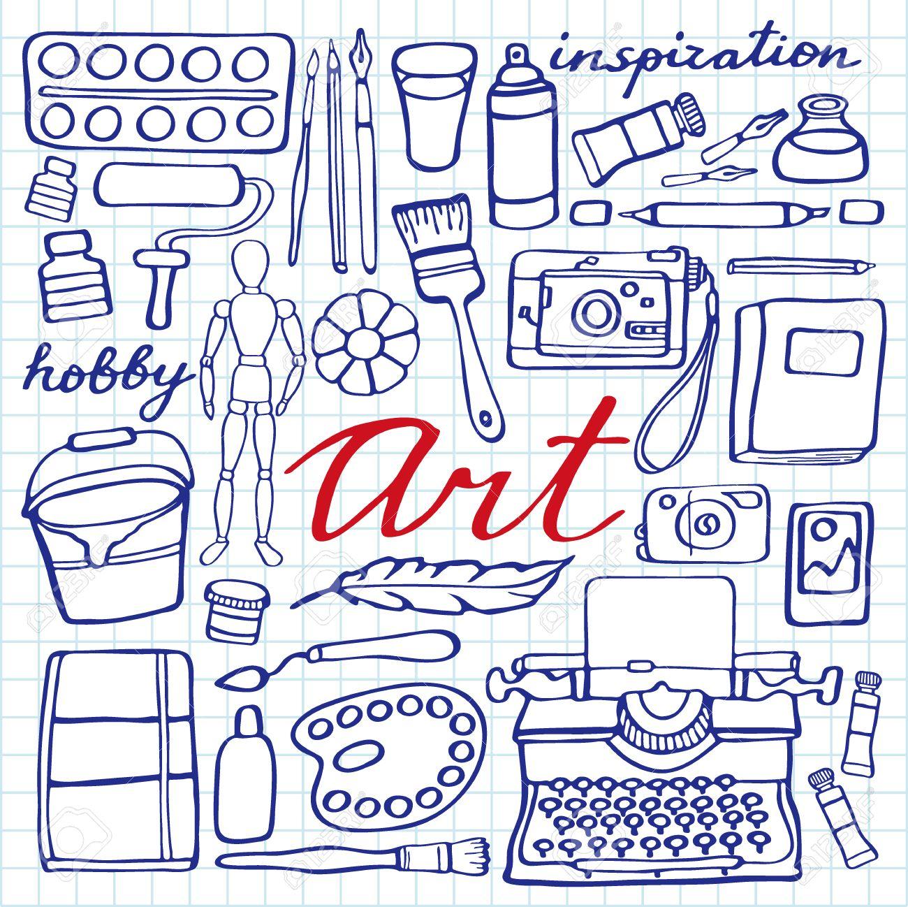 1300x1298 Art Supplies Set. Hand Drawn Cartoon Collection Of Art Tools