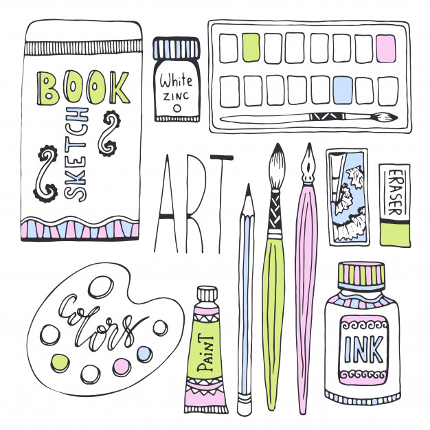 626x626 Art Supplies For Drawing. Sketches Vector Set With Paints, Palette