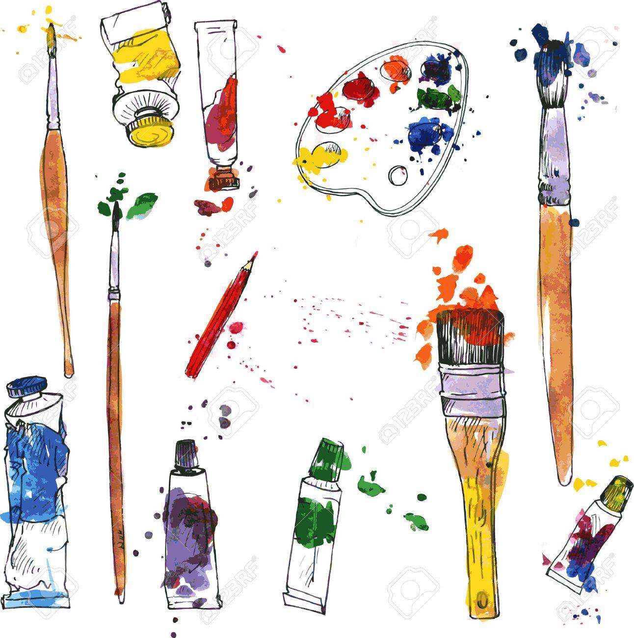 1292x1300 Vector Set Of Art Materials, Drawn By Wayercolor, Palette