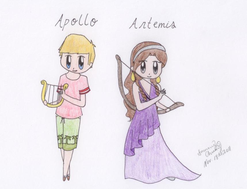859x658 Chibi Apollo And Artemis By Penguincoco