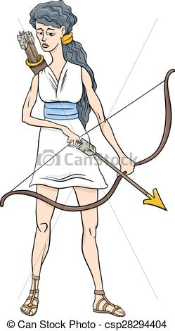 249x470 Greek Goddess Artemis Cartoon. Cartoon Illustration Of Vector