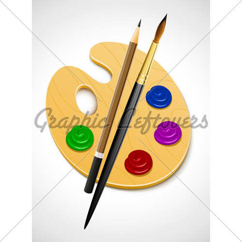 500x500 Art Palette And Instrument For Drawing Gl Stock Images