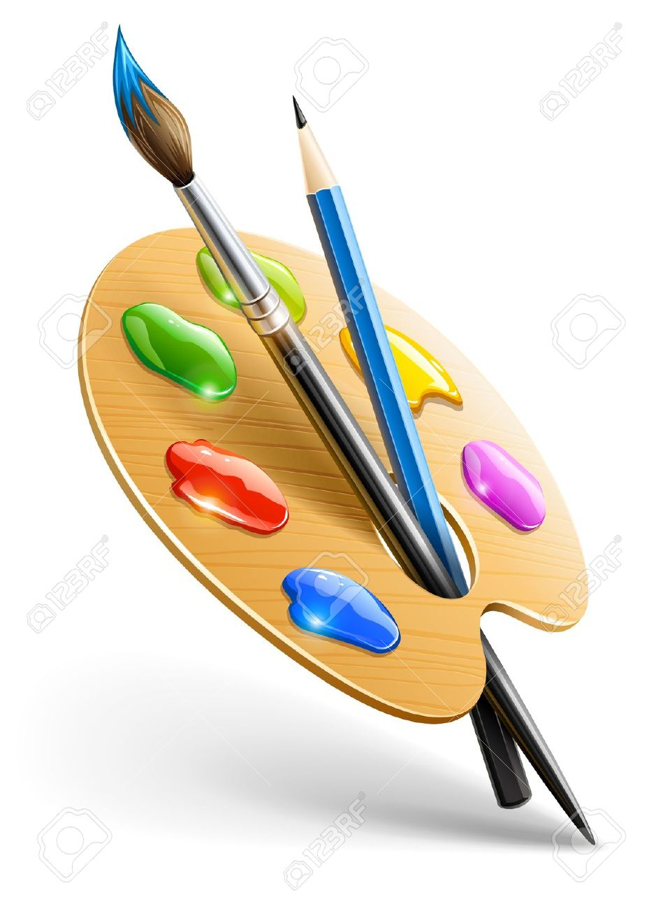 929x1300 Artist Tools For Drawing Art Palette With Paint Brush And Pencil
