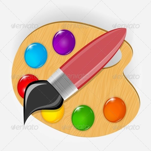 590x590 Wooden Art Palette With Paints And Brush Shadow Drawing, Vector