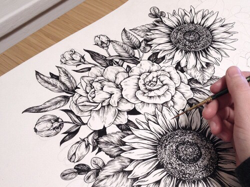 500x375 Art, Drawing, Flower, Flowers, Pretty, Rose, Ru