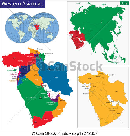 449x470 Western Asia Map. Color Map Of Western Asia Divided By