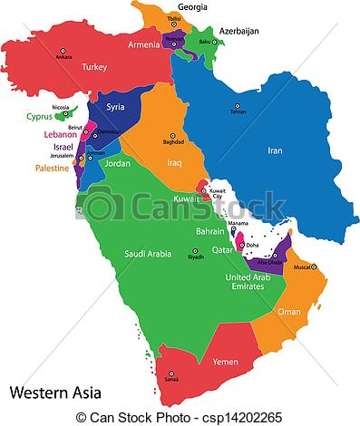 397x470 Western Asia Map. Color Map Of Western Asia Divided By The Clip