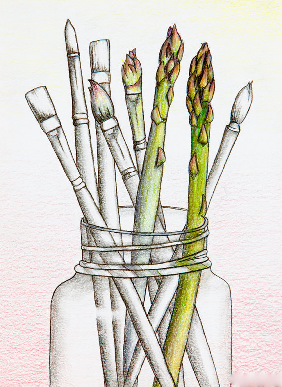 570x783 Asparagus Paint Brushes In Jar Colored Pencil Original Drawing