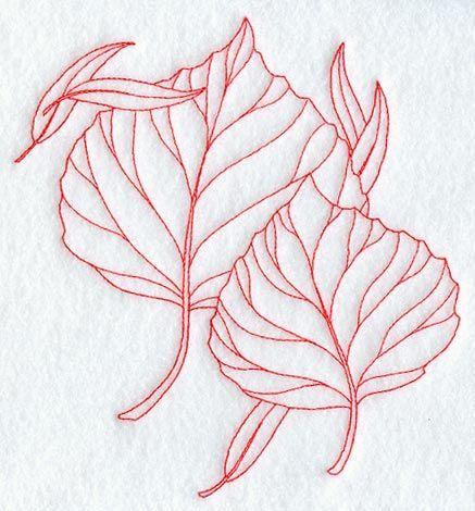 437x470 Aspen Leaves (Redwork) Mandalas Aspen Leaf