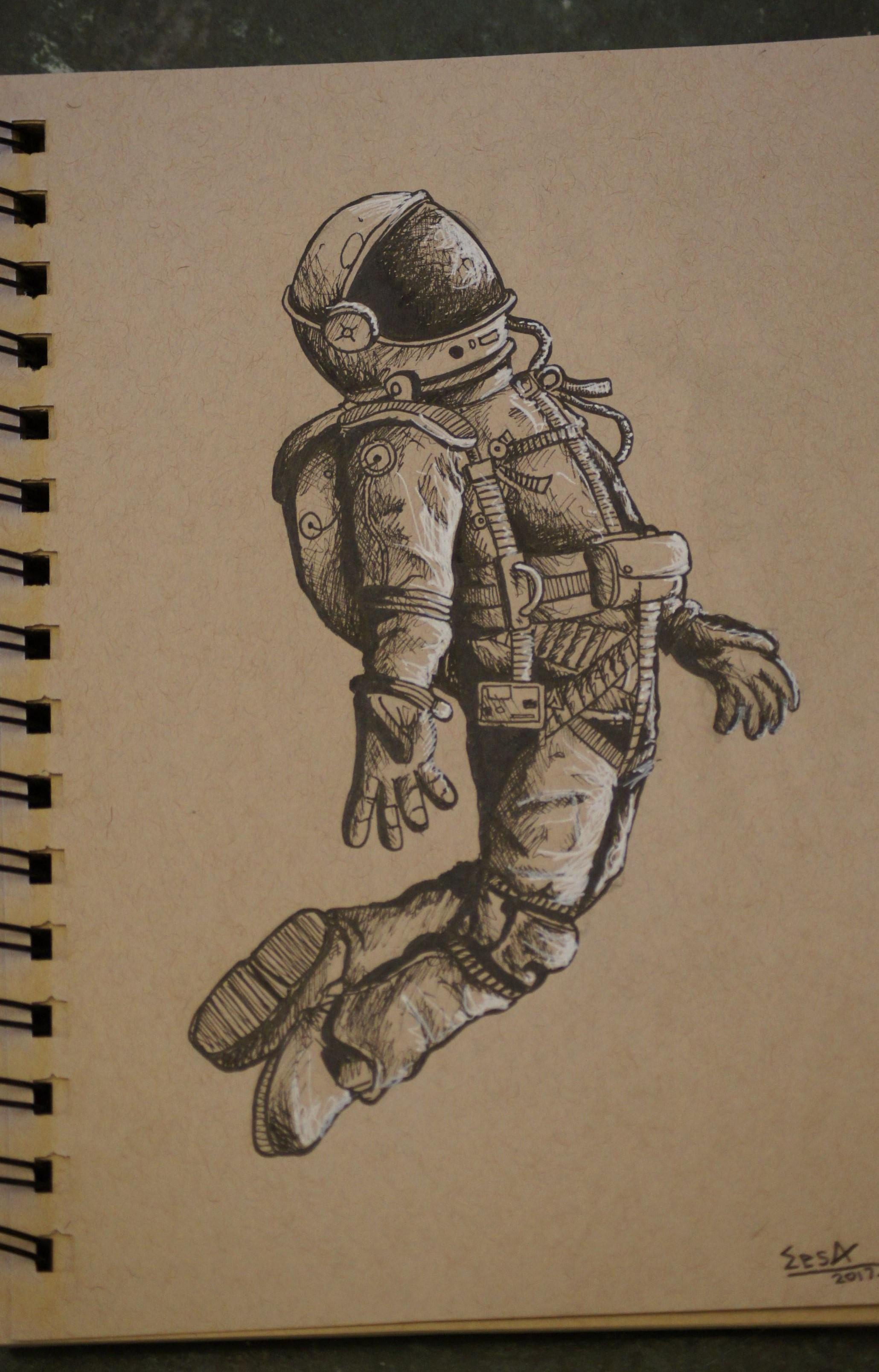 how to draw an astronaut step by step