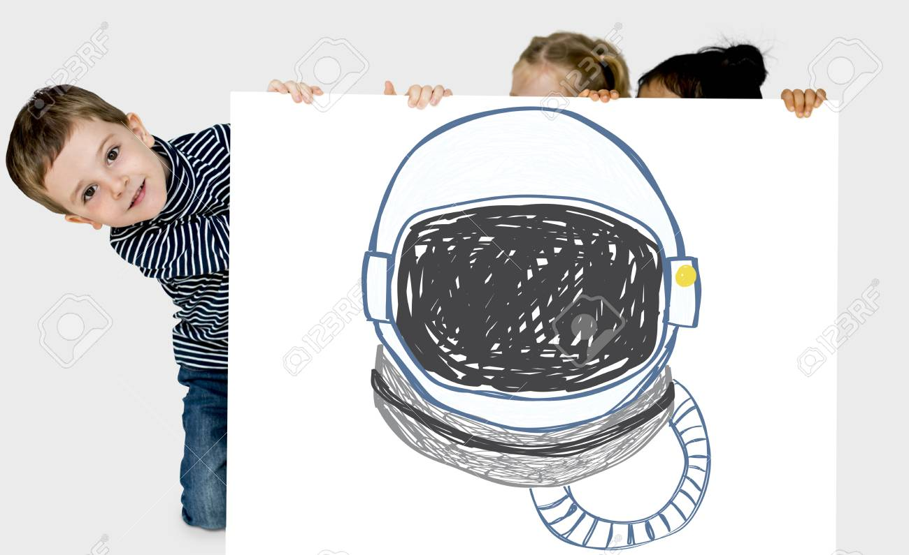 1300x795 Child With A Drawing Of Astronaut Helmet Stock Photo, Picture