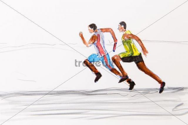 640x427 Two Runners, Track And Field Athletics, Drawing By The Artist Gerha