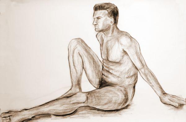 600x394 Athlete Drawing, Charcoal Natron Paper, By Dora Bratelj