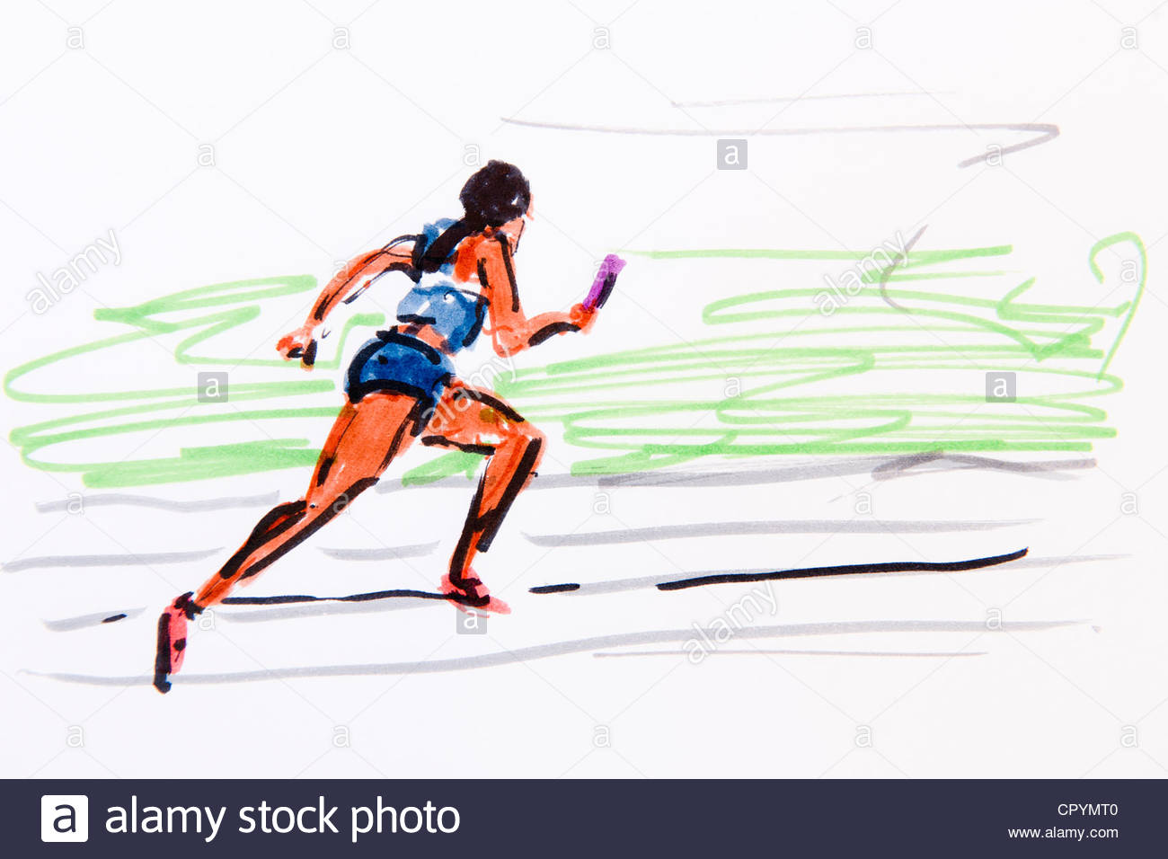 1300x956 Illustration Of A Track And Field Athlete Running Done In Sketch